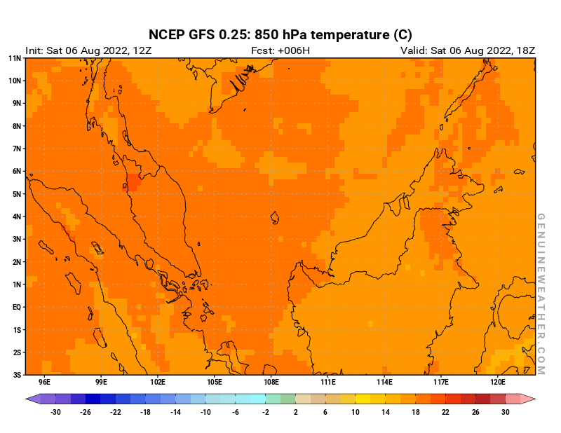 Malaysia map with 850 hPa temperature by NCEP GFS model