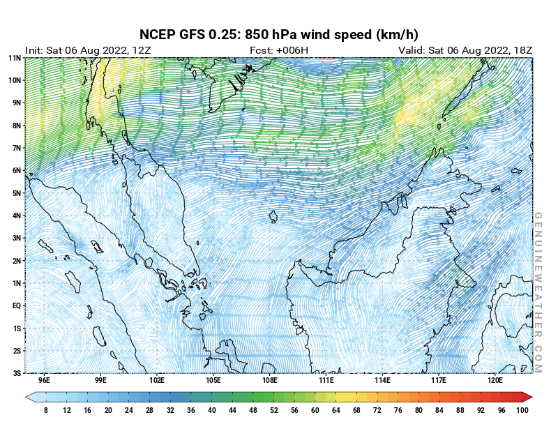 Malaysia map with 850 hPa wind speed by NCEP GFS model