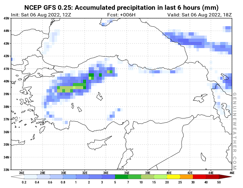 Turkey map with Precipitation in 6 hours by NCEP GFS model