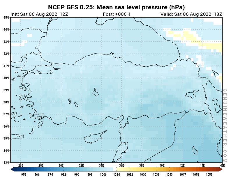 Turkey map with Mean sea level pressure by NCEP GFS model