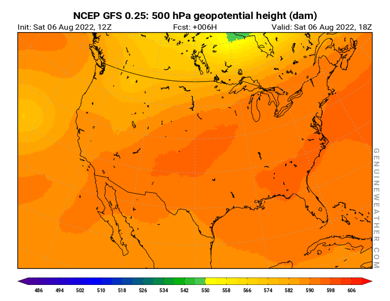 United States map with 500 hPa geopotential height by NCEP GFS model