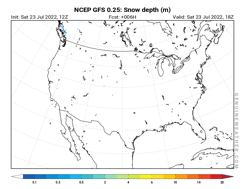 United States map with Snow Depth by NCEP GFS model