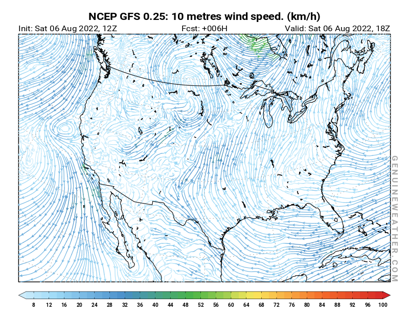 United States map with 10 metres wind speed by NCEP GFS model