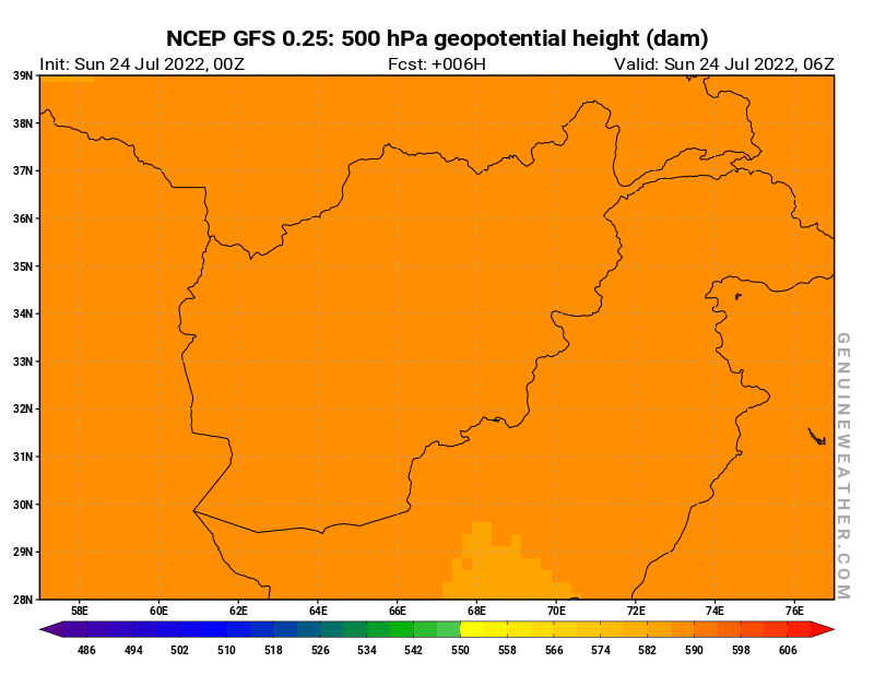 Afghanistan map with 500 hPa geopotential height by NCEP GFS model