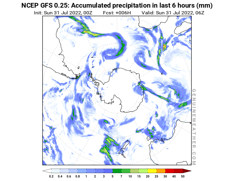 Antarctic map with Precipitation in 6 hours by NCEP GFS model
