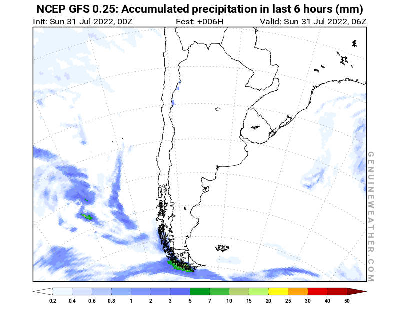 Argentina map with Precipitation in 6 hours by NCEP GFS model