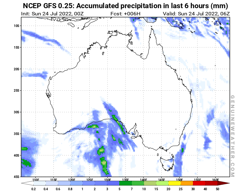 Australia map with Precipitation in 6 hours by NCEP GFS model