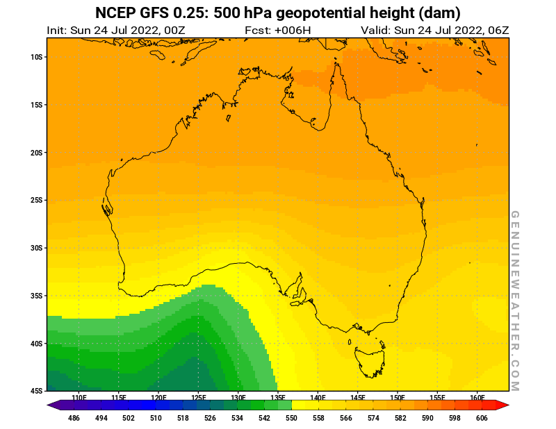 Australia map with 500 hPa geopotential height by NCEP GFS model