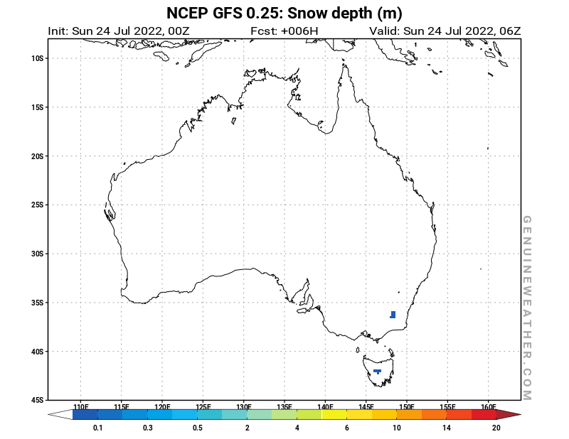 Australia map with Snow Depth by NCEP GFS model