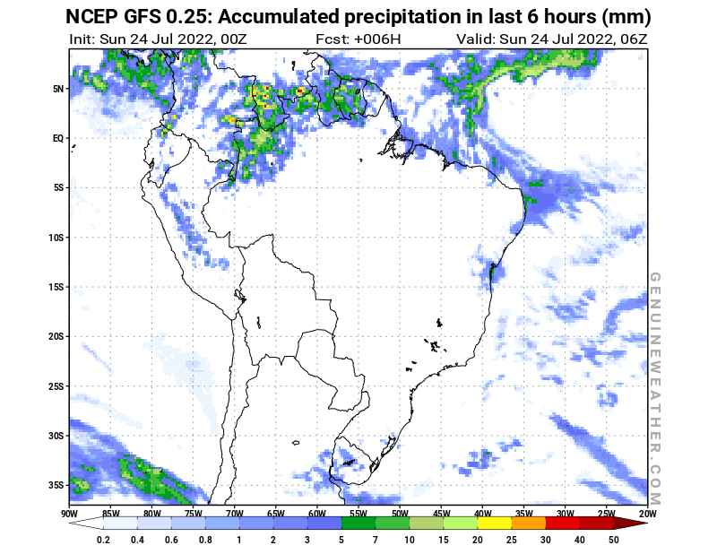 Brazil map with Precipitation in 6 hours by NCEP GFS model