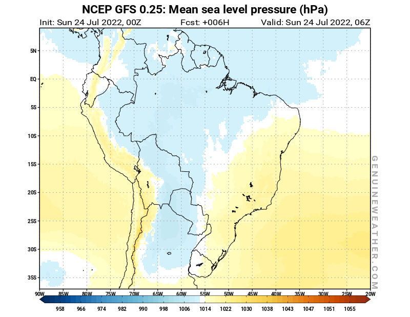 Brazil map with Mean sea level pressure by NCEP GFS model