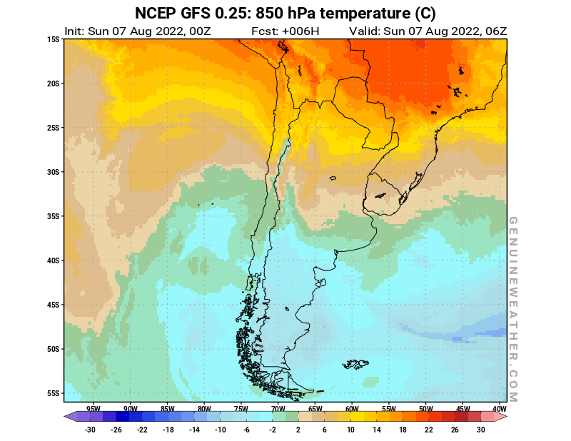 Chile map with 850 hPa temperature by NCEP GFS model