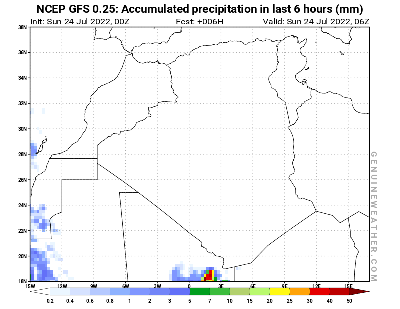 Algeria map with Precipitation in 6 hours by NCEP GFS model