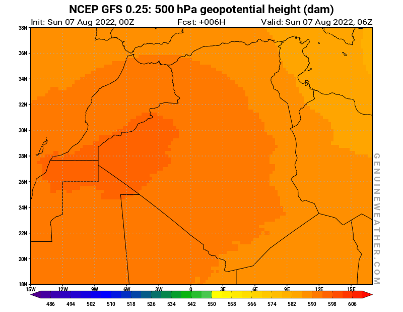Algeria map with 500 hPa geopotential height by NCEP GFS model