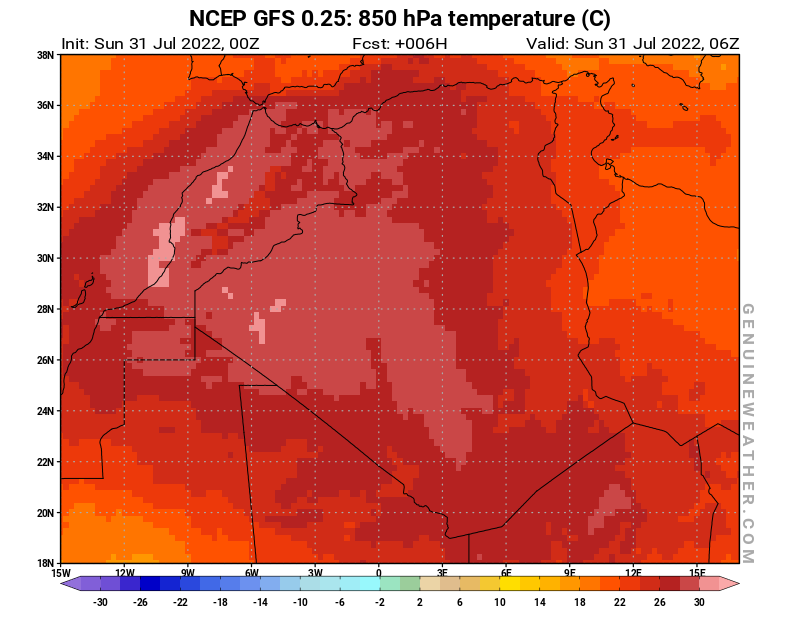 Algeria map with 850 hPa temperature by NCEP GFS model