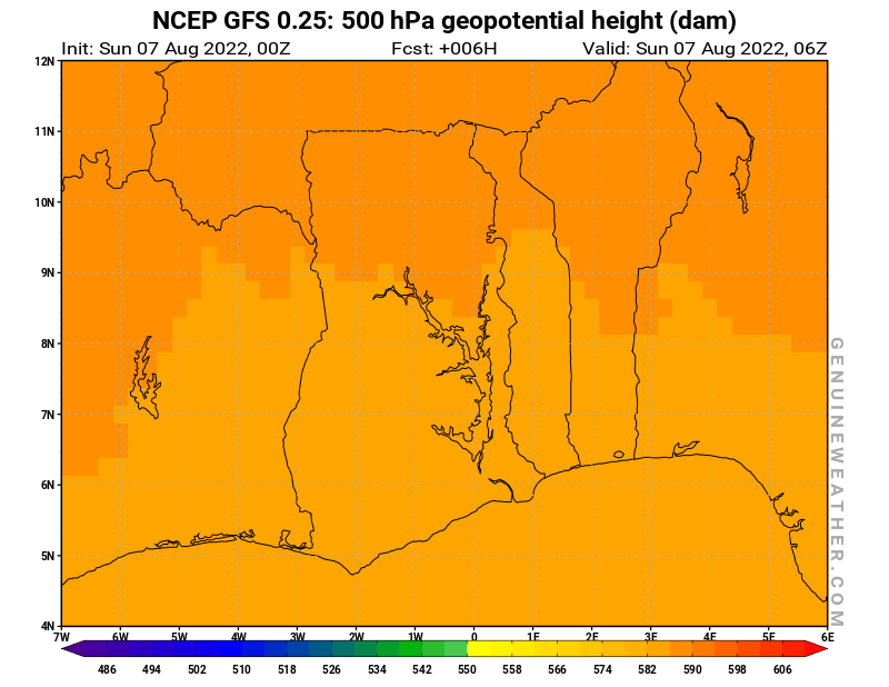 Ghana map with 500 hPa geopotential height by NCEP GFS model