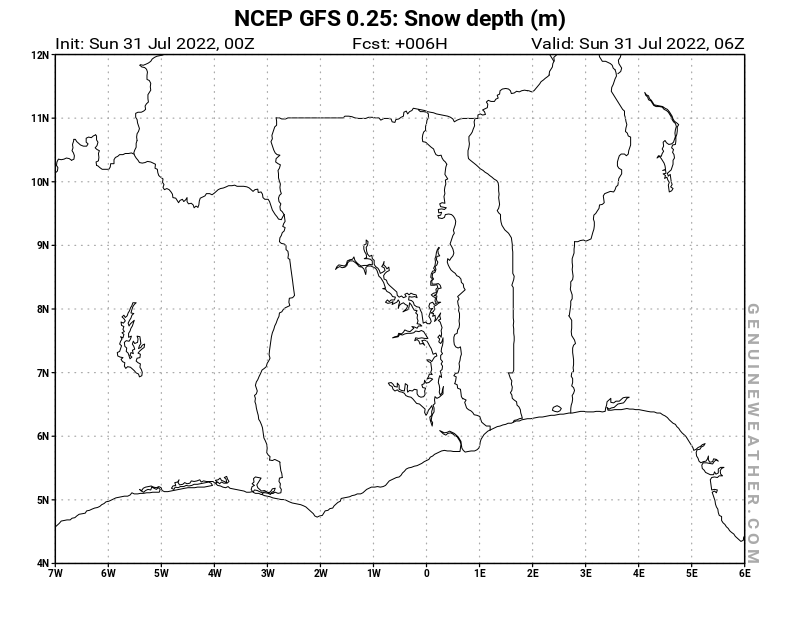 Ghana map with Snow Depth by NCEP GFS model