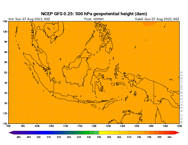 Indonesia map with 500 hPa geopotential height by NCEP GFS model