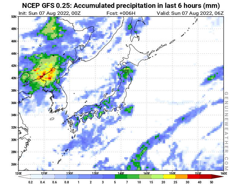 Japan map with Precipitation in 6 hours by NCEP GFS model