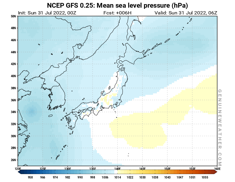 Japan map with Mean sea level pressure by NCEP GFS model