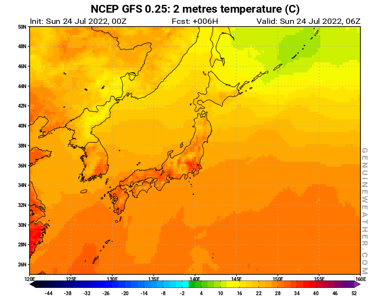 Japan map with 2 metres temperature by NCEP GFS model