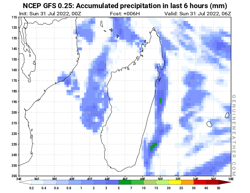 Madagascar map with Precipitation in 6 hours by NCEP GFS model