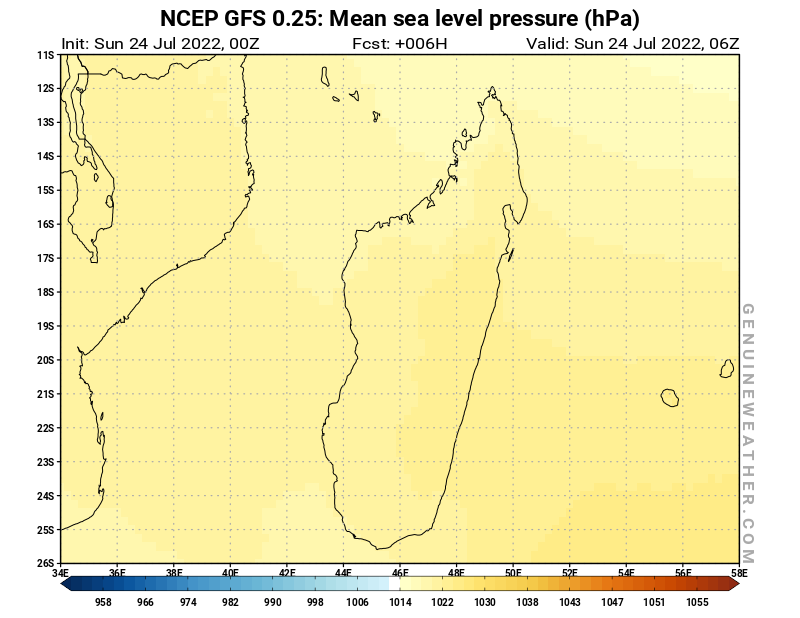 Madagascar map with Mean sea level pressure by NCEP GFS model