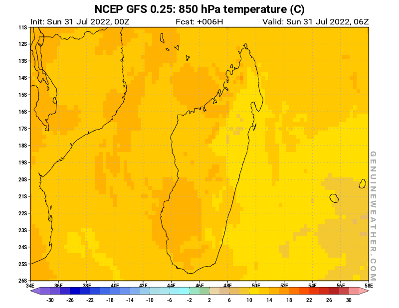 Madagascar map with 850 hPa temperature by NCEP GFS model