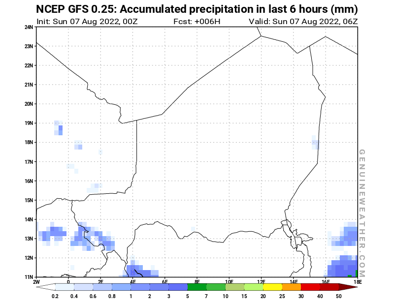 Niger map with Precipitation in 6 hours by NCEP GFS model