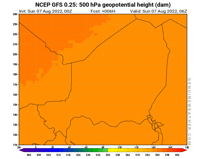 Niger map with 500 hPa geopotential height by NCEP GFS model