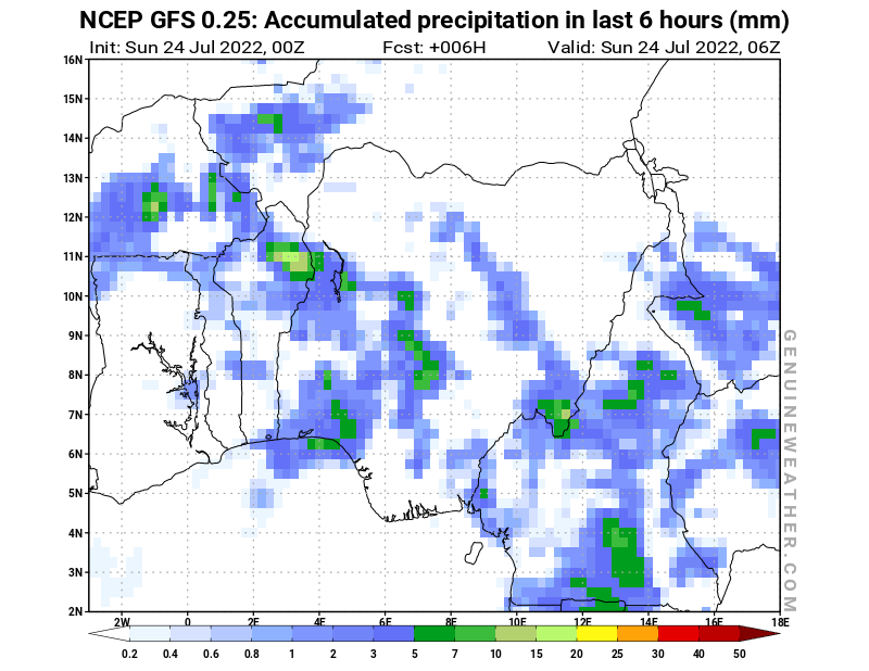 Nigeria map with Precipitation in 6 hours by NCEP GFS model