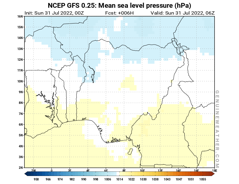 Nigeria map with Mean sea level pressure by NCEP GFS model