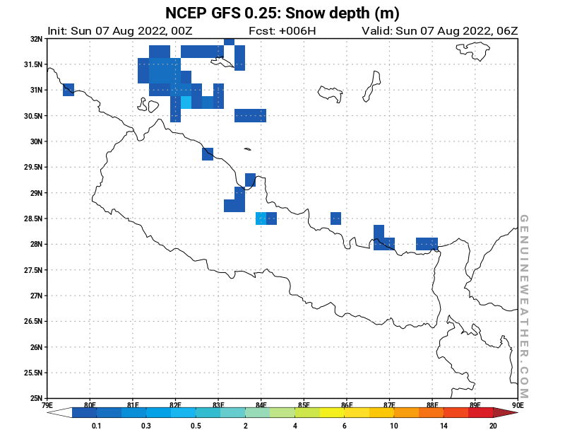 Nepal map with Snow Depth by NCEP GFS model