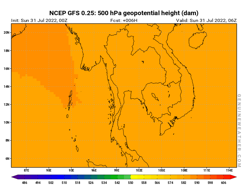 Thailand map with 500 hPa geopotential height by NCEP GFS model