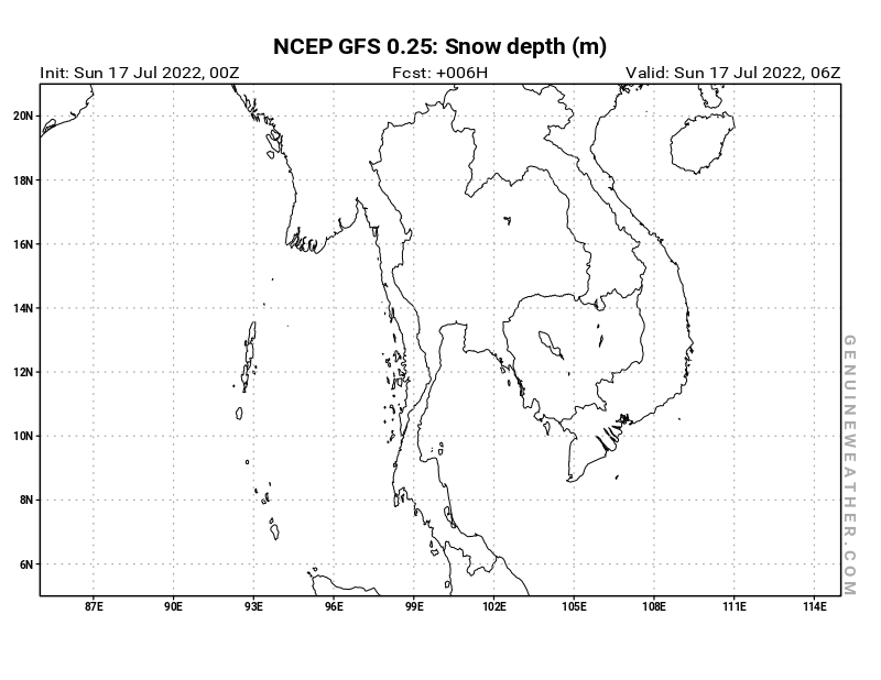 Thailand map with Snow Depth by NCEP GFS model