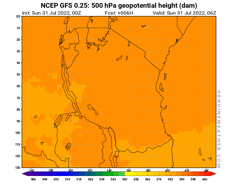 Tanzania map with 500 hPa geopotential height by NCEP GFS model