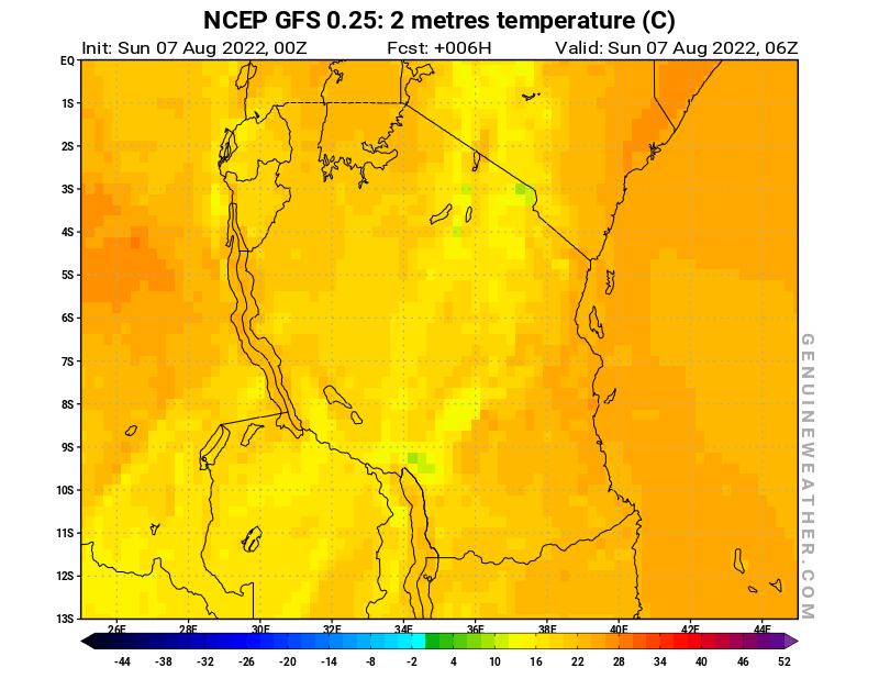Tanzania map with 2 metres temperature by NCEP GFS model