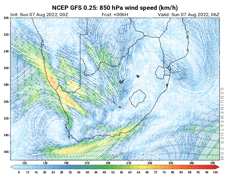 South Africa map with 850 hPa wind speed by NCEP GFS model