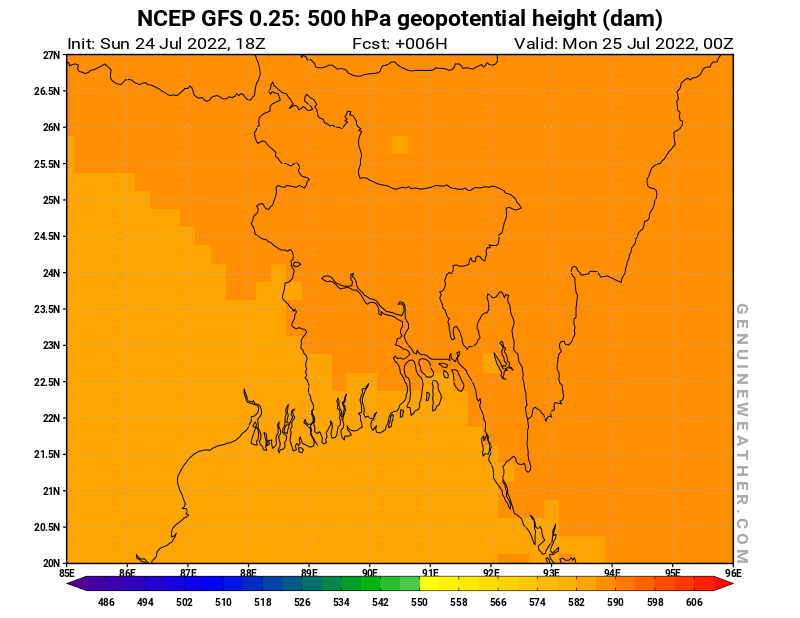 Bangladesh map with 500 hPa geopotential height by NCEP GFS model