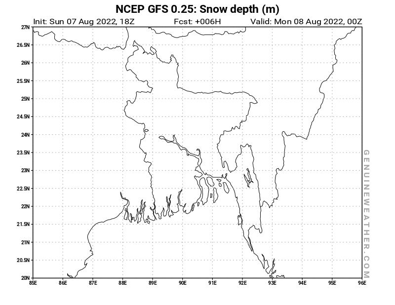 Bangladesh map with Snow Depth by NCEP GFS model
