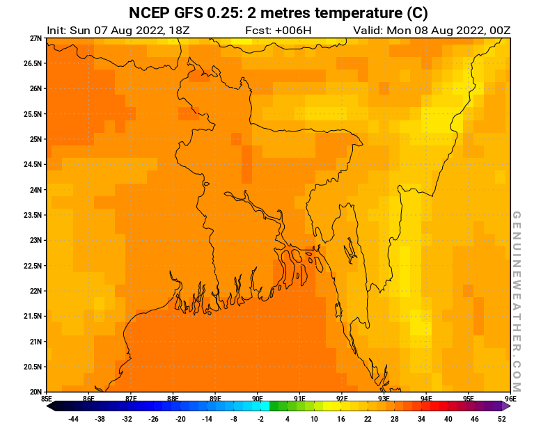 Bangladesh map with 2 metres temperature by NCEP GFS model