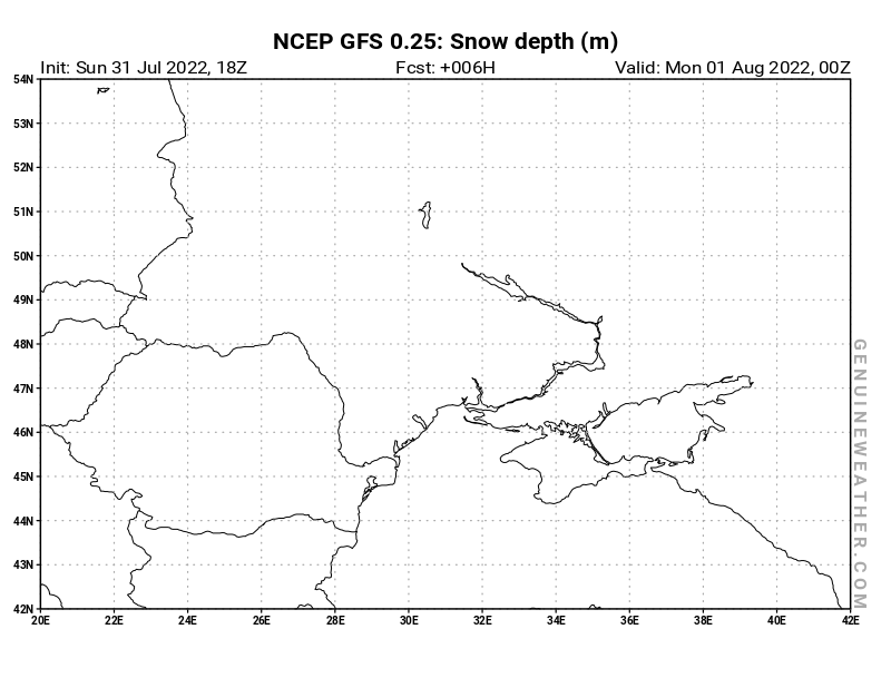 Ukraine map with Snow Depth by NCEP GFS model